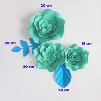 DIY Giant Paper Flowers Large Artificial Rose Fleurs Backdrop 3pcs+ 2 Leave Wedding Party Decorations Nursery
