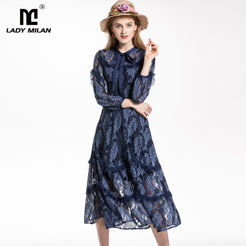 New Arrival 2018 Womens O Neck Long Sleeves Hollow Out Lace Bow Detailing High Street Fashion Casual Dresses