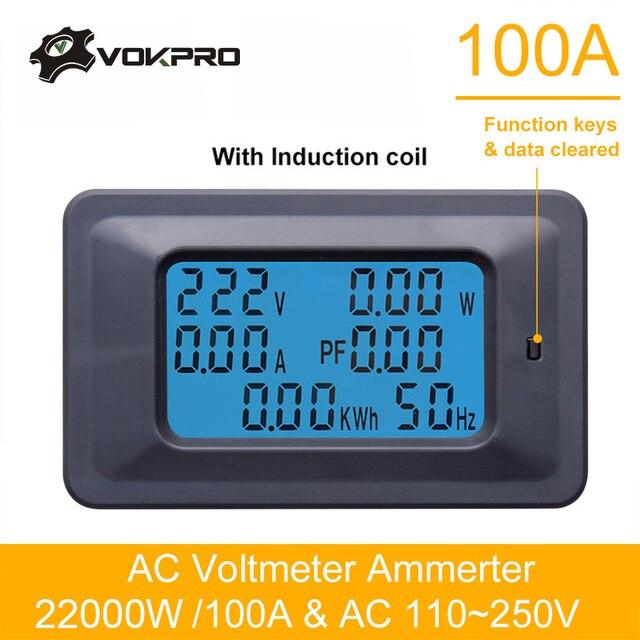 110 V ~ 250 V wattmètre AC 22KW 100A testeur électrique mètre voltmètre ampèremètre numérique compteur d'énergie indicateur puissance courant ampères Volt