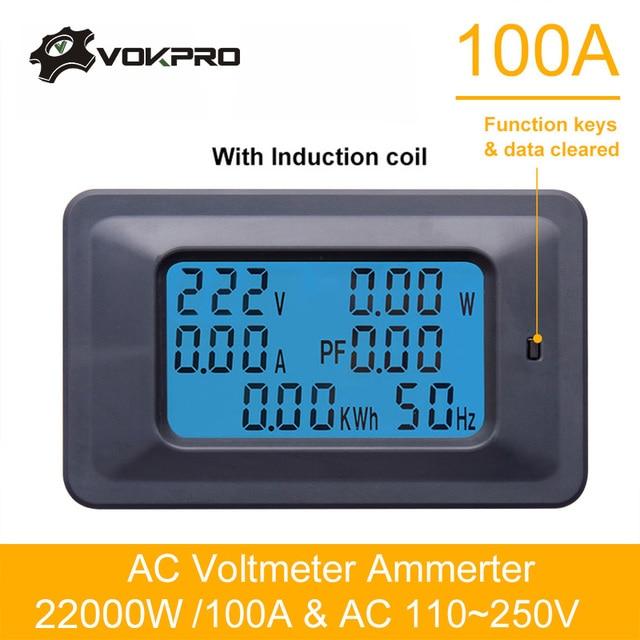 110 v ~ 250 v Wattmètre AC 22KW 100A Électrique Testeur Mètre Voltmètre Ampèremètre Numérique Compteur D'énergie Indicateur Courant Puissance ampère Volt