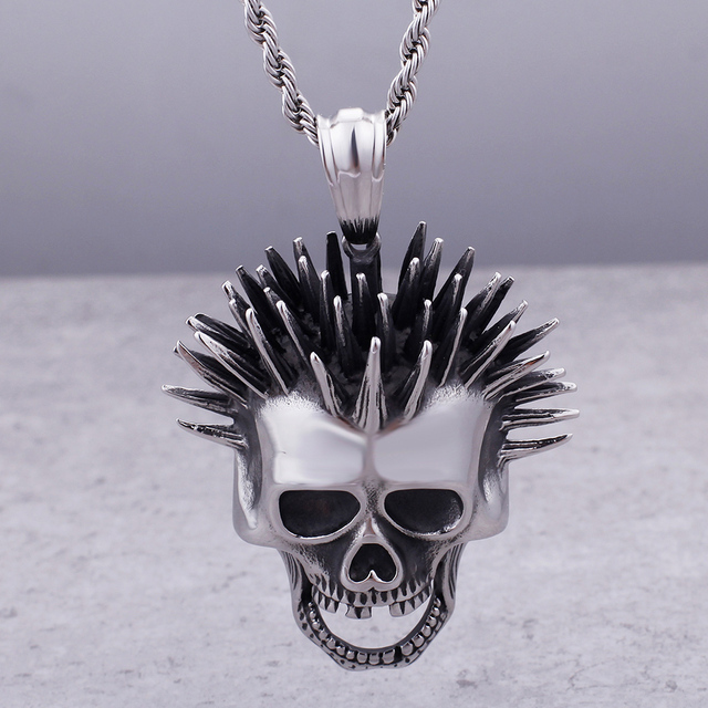 STAINLESS STEEL SKULL PUNK ROCKER NECKLACE