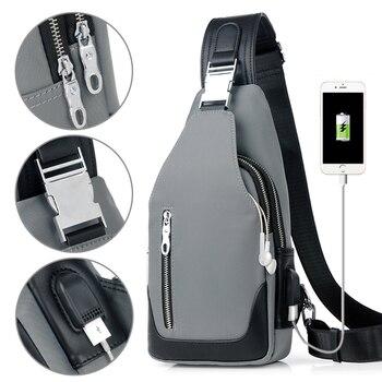 YABEISHINI 新到着クロスボディバッグ男性胸パックユニセックス USB 充電抗盗難メッセンジャーバッグ旅行防水ショルダーバッグ