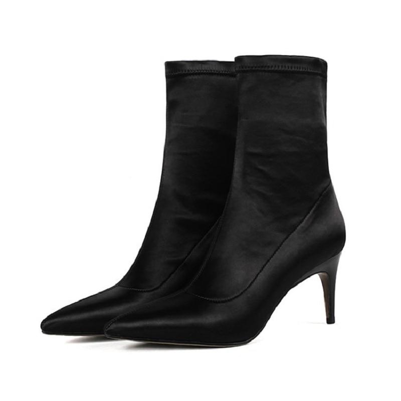Wadenhohe Stiefel Schuhe Aufrichtig 2019 Herbst Und Winter Neue Spitz Booties Stretch Kurze Stiletto High Heel Frauen Schuhe Schwarz Ljj 0405