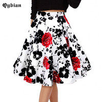 Qyibian Woman Retro Red Rose Flower Bouquet Floral Print High Waist Midi Skirts Mid Calf Long