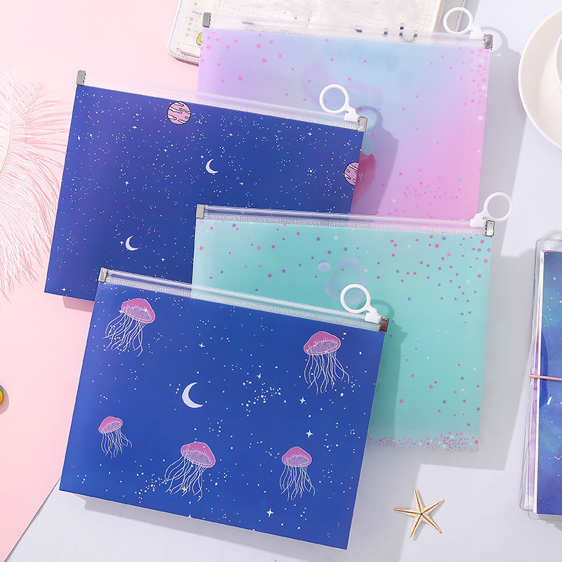 1pc Cute Strawberry Waterproof A5 Document Bag Fruit File Folder Document Filing Bag Stationery Bag School Office Supplies