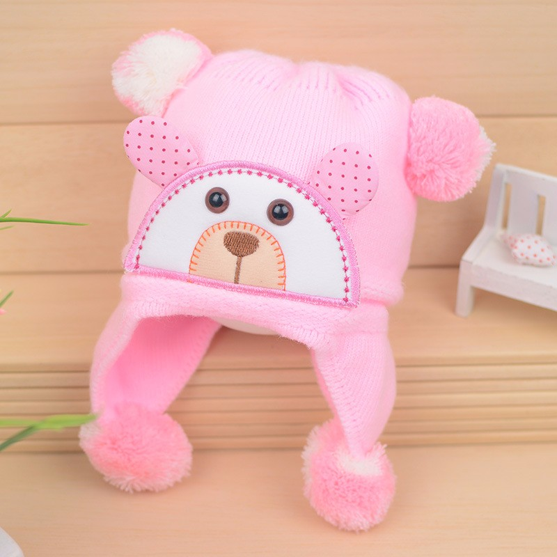 Bear Baby Hat Cotton Infant Caps Warm Ear Boys Beanies Thick Winter Girl Hats Autumn Toddler Cap With Pompom Accessories Newborn (1)