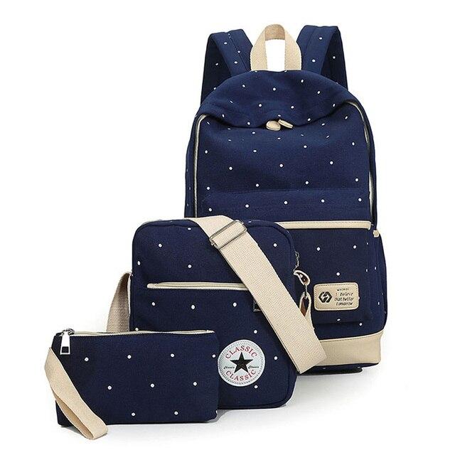 3Pcs Composite Bags Backpack+Shoulder Bag+Handbag Fashion School Bag for Students Durable Canvas Satchel Rucksack For Teenagers