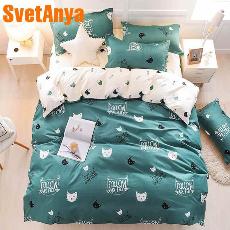 Svetanya cheap Bedlinen Cartoon Bedding Set Single Double Full Queen Size (Duver Cover +flat Sheet+Pillowcase)