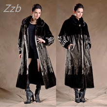 ZZB018 Fashion X Long Natural Faux Mink Fur Coat Winter Women Over Long Jacket Overcoat Women Clothing Winter Very Warm Coat