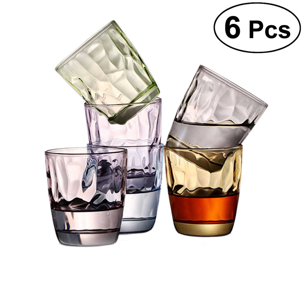 6pcs Acrylic Durable Mugs Shatterproof 310ml Drinking Glasses Unbreakable Tumblers Resistant Cups Wine Beverage Glasses