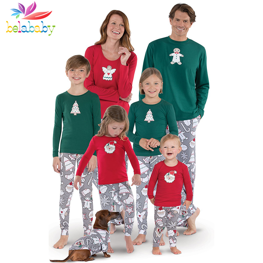 71b5845a82 Belababy Family Clothing Sets 2018 Christmas Home Service Family Fitted Long  Sleeve Santa Claus Print+Pants Christmas Suit -in Matching Family Outfits  from ...