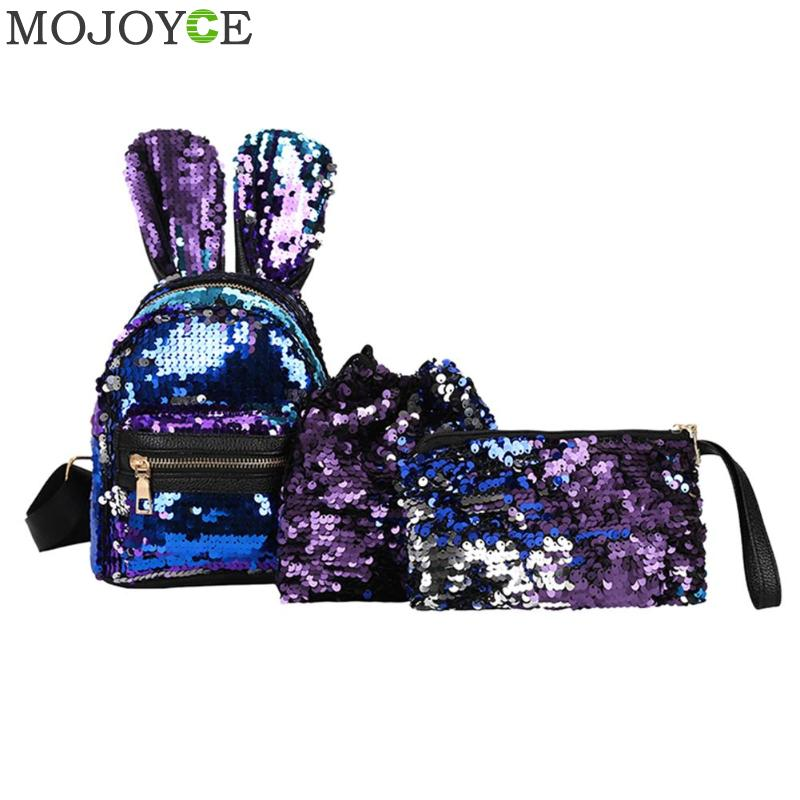 1/3pcs/set Mini Shining Sequins School Backpack Women Rabbit Ears Rucksack Cartoon Label Purse Zipper Shoulder With Small Bag