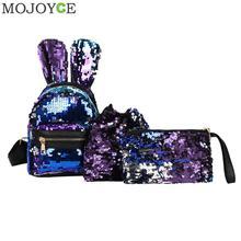 1/3 шт./компл. мини Сияющие Блестки школьный рюкзак Для женщин кроличьи уши рюкзак мультипликационная наклейка кошелек на молнии плеча с небольшой мешок