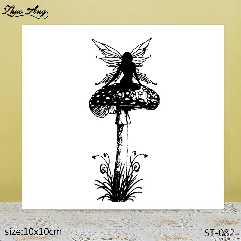 ZhuoAng  Beautiful Mushroom Elf Transparent Silicone Stamp / DIY Scrapbook Album Decoration Seal