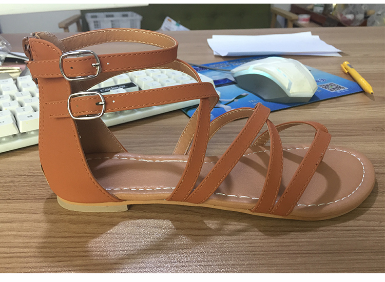 HTB1CO.zKYvpK1RjSZPiq6zmwXXai Women Sandals Fashion Gladiator Sandals For Women Summer Shoes Female Flat Sandals Rome Style Cross Tied Sandals Shoes Women 43
