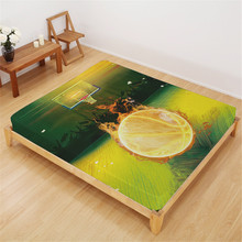 Green Yellow Bed Sheet Fire Basketball Print Fitted Sheet Sports Design Bedding King Queen Bedclothes Deep Pocket Sheet D35 недорого