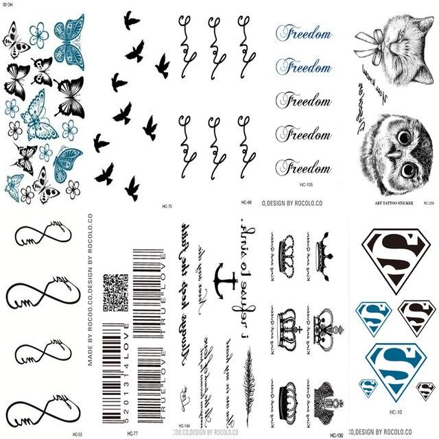 Us 36 10 Stks Mannen Vrouwen Leuke Fake Tattoo Mouwen Art Schilderen Tattoo Sticker Sexy Pols Tijdelijke Tattoo Zwarte Geometrische Patronen In 10