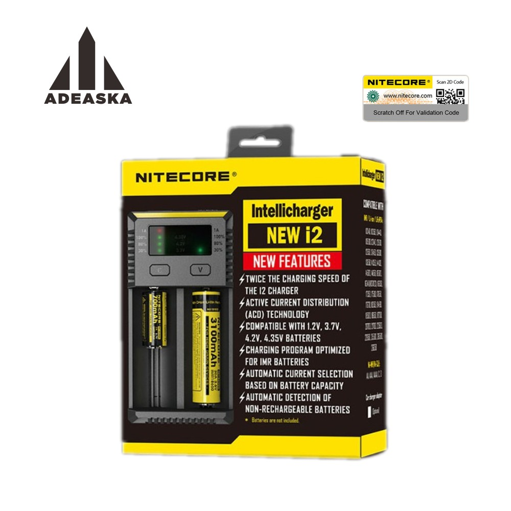 2017 NITECORE new version 1PC Battery Charger for 16340 10440 AA AAA 14500 18650 26650 Battery Charger I2 Charger стоимость