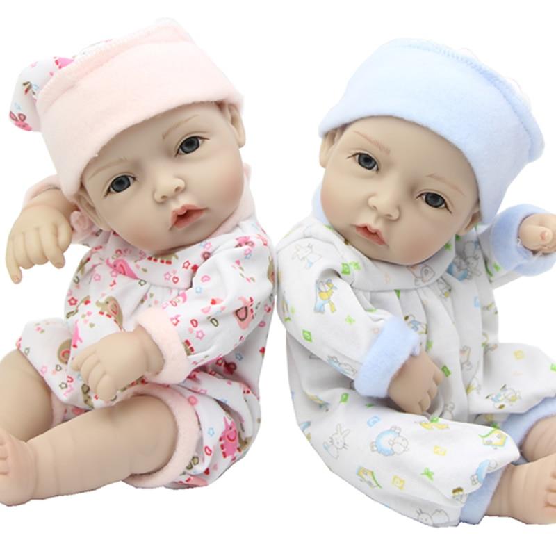 NPK Collection Small Reborn Baby Dolls Boy And Girl 11 Inch Full Silicone Vinyl Lifelike Mini Twin Dolls Kids Birthday Xmas Gift