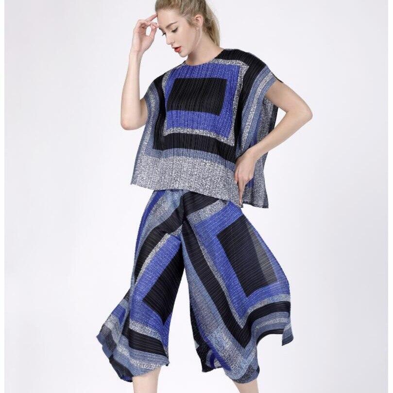T Gratuite Royal bleu 9 À cent Livraison Avec Fuchsia shirt Et Jambes Larges Lâche Nouveau Pantalon Irrégulière Plis wZiuPkTOX
