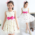 2017 roupas de verão das crianças coreanas meninas sweet princess party dress com arco bebê sem mangas casual one piece-vestido 3 cores