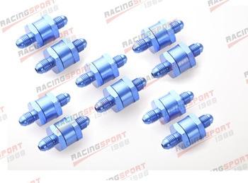 10 stks 6AN Brandstof Non Return Een Terugslagklep Benzine Diesel Aluminium OWV-07-BLUE-10
