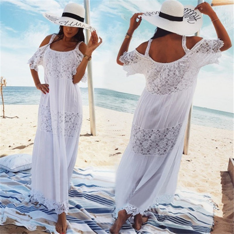 Solid Bikini Covers Flower Lace Beach Dress  Women Sexy Cover Up Long White Bathing Suit Hollow Swimsuit Female Halter Top Skirt
