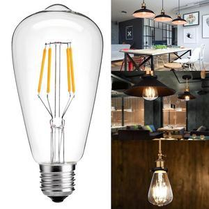 Image 5 - E27 AC110V 220V Vintage ST64 LED ampul dim 2W 4W 6W 8W Filament Edison LED 2300K 2700K 6000K sarı sıcak soğuk beyaz renk