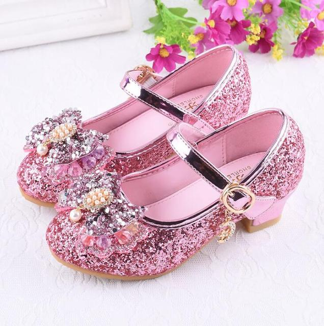 Hot Girls Silver Party Wedding Shoes Princess Shoe Leather Glitter Crystals Rhinestones Wedge Butterfly Knot Kids Leather Shoes