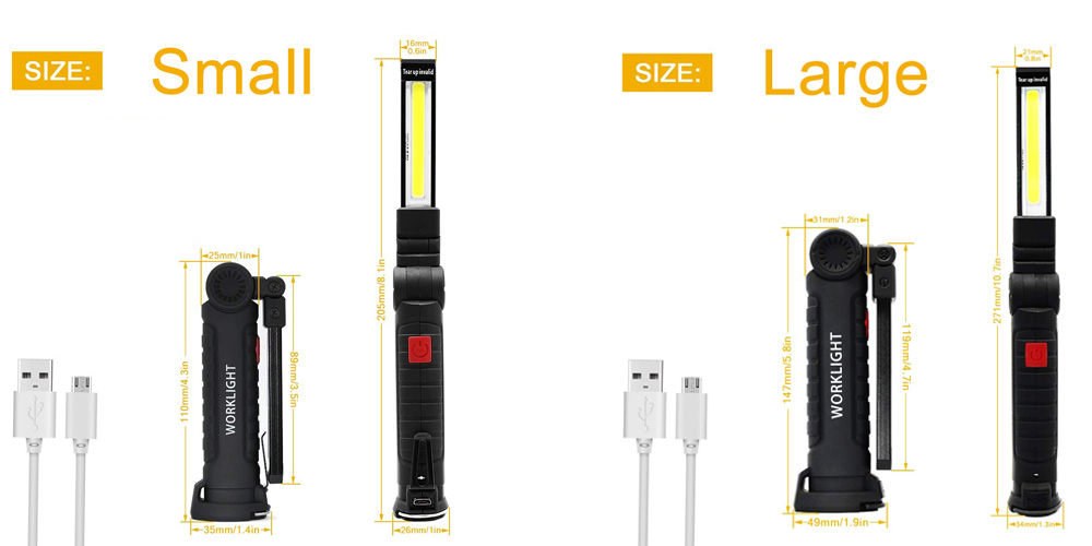 Adapter - zk20 USB Rechargeable LED Flashlight Collapsible COB Portable Woring Light Magnetic Base Hook Inspection Repairing Camping Lamp