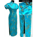Blue Chinese Female Satin Cheongsam Qipao Long Evening Gown Dress Dragon Phenix Totem Size S M L XL XXL XXXL 4XL 5XL 6XL S036-E