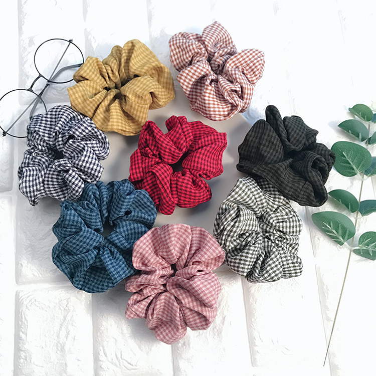 Winter Floral Vintage Plaid Hair Scrunchies For Ponytail Elastic Rubber Striped Band For Lady Women Hair Tie Hair Rope Headband