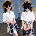Girl Children's Clothing 2017 Fashion Sweet Summer Kids Girls Clothing Sets 2 Pcs Tops & Skirt Casual Plaid Girl Outfits 4-12 Y