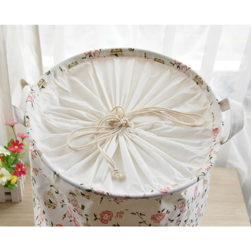 Cotton Linen Fold Bin Shabby Chic Storage Laundry Basket Pink Floral Birds  Cage With Handle Zakka Vintage35x45cm In Storage Baskets From Home U0026 Garden  On ...