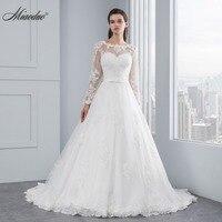 Luxury Long Sleeve Lace Appliques Low Back Wedding Dress 2015 A Line Vestido De Noiva Wedding