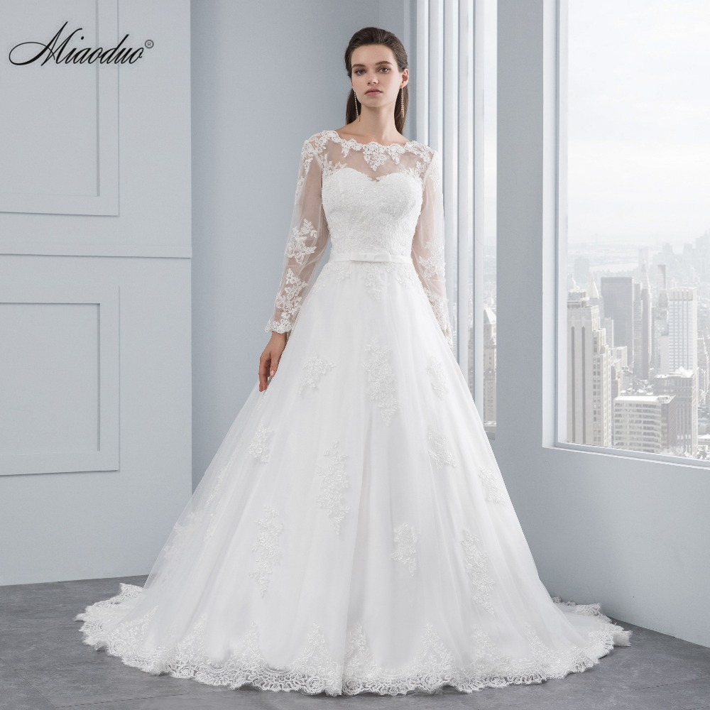 Miaoduo luxury long sleeve lace appliques low back wedding for Lace low back wedding dress