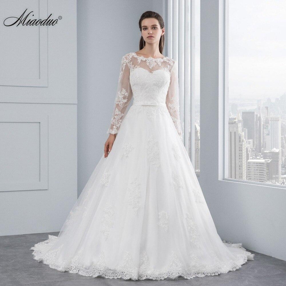 Miaoduo Luxury Long Sleeve Lace Appliques Low Back Wedding Dress 2018 A-line vestido de noiva Wedding Dresses vestido de noiva