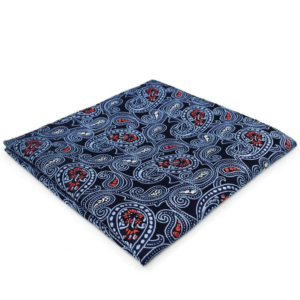 EH1 Navy Paisley Mens Pocket Square Handkerchief Wedding Hanky