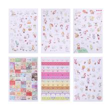6 Sheets Cute Cartoon Stickers Lovely Rabbit Animal Pattern Waterproof Decals DIY Album Mobile Diary Decoration