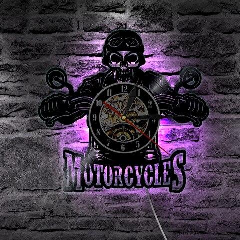 de parede com iluminacao led moto motociclista