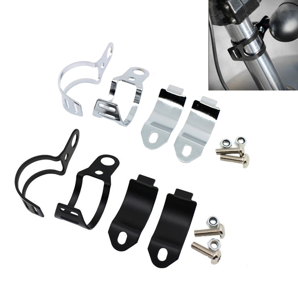 Black Yc 2 Pcs Motorbike Turn Signal Mount Bracket Universal Indicator Fork Bracket Clamp Headlight Holde 30-43mm Metal Fork Relocation Clamps Brackets