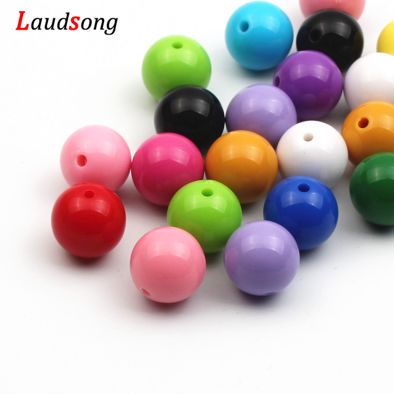 6/8/10/12/14/16/18/20mm Cheap Colorful Bubblegum Beaded Solid Acrylic Beads For Necklaces Jewelry Making Bracelet(China)