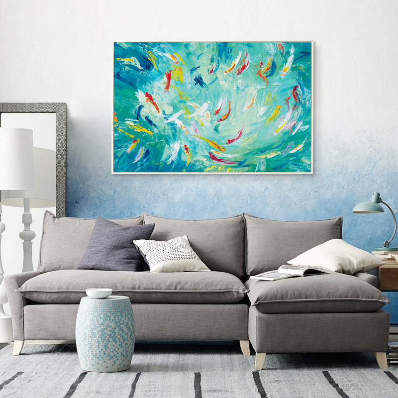 Modern chinese abstract oil painting fish pond carp a4 art for Modern home decor from china