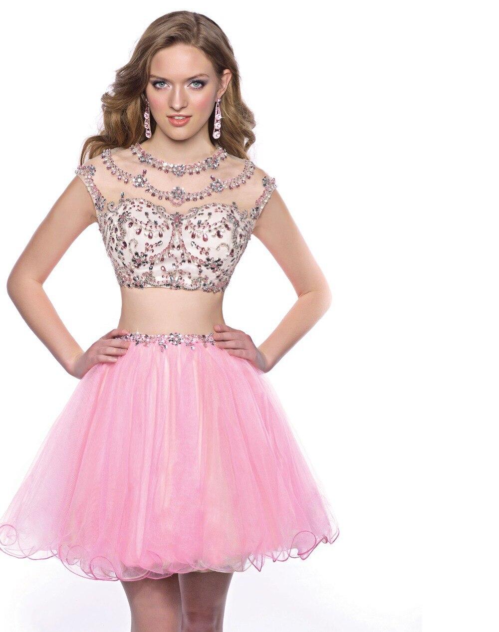 Pura Scoop una línea corta de fiesta vestidos 2015 corto perlas ...