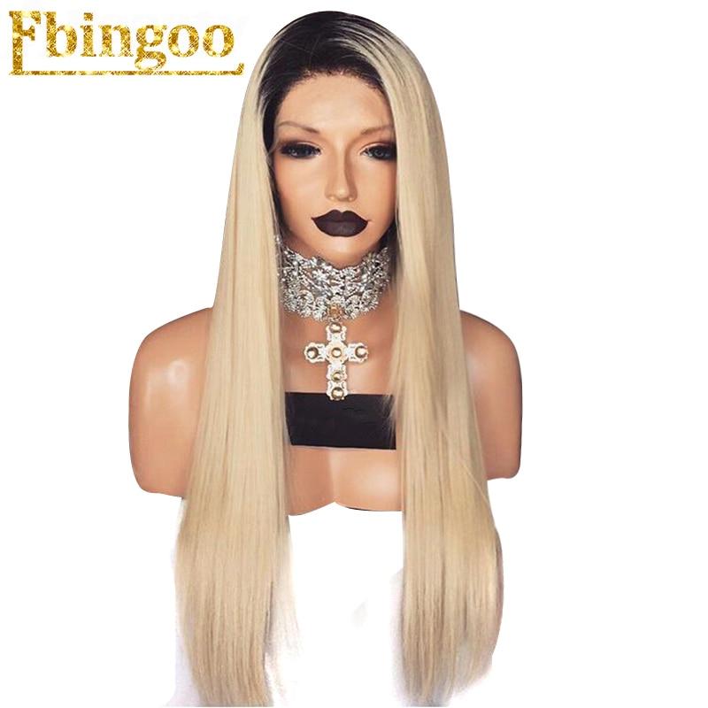Ebingoo 26 High Temperature Fiber Black Ombre Blonde 2 Tones Natural Long Straight Synthetic Lace Front