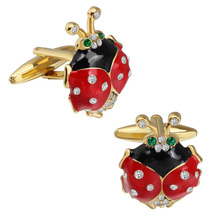 Wholesale Fashionable Beetle Cufflinks with Crystal Gold Plated Best Gift For Mens Shirt