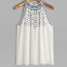 Verano vintage mujer bordado flor estampado estético Tank Tops sin mangas playa Casual blusa camiseta poleras mujer # sw