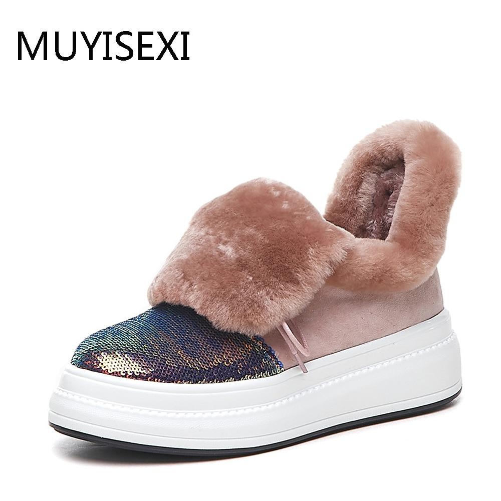 الدافئة الصوف فراء الأحذية قطيع مع بلينغ طويلة أفخم الثلوج المرأة الروسية الشتاء الأحذية الأسود الوردي LIANG01 MUYISEXI-في أحذية الكاحل من أحذية على  مجموعة 1