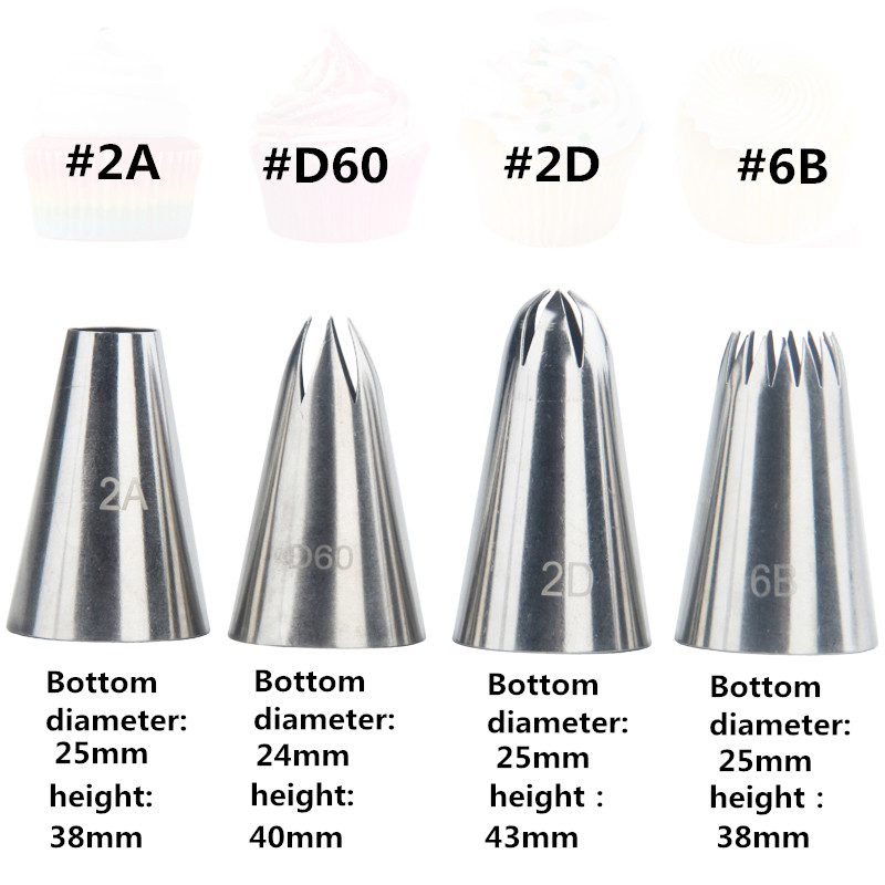 4Pcs Cream Tips Set Stainless Steel Piping Nozzle Icing Cream Cake Decoration Cupcake Pastry Tool in Dessert Decorators from Home Garden