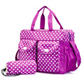 Purple Large Capacity Infantile Stroller Bag Dot Multifunctional Maternity Mother Mummy Nappy Diaper Bags Shoulder Handbag